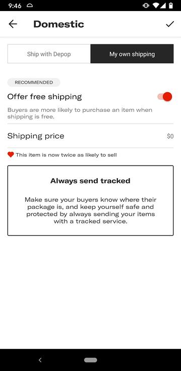 my own shipping depop