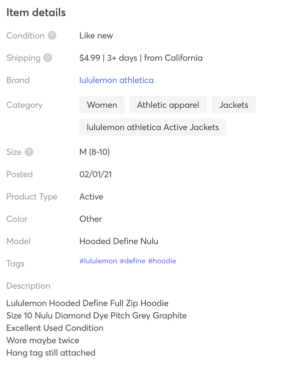 mercari product item details categories brand tags