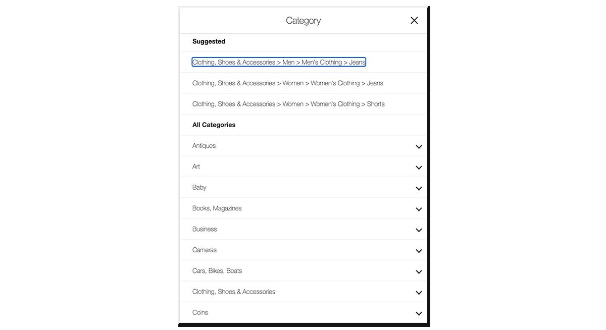 ebay listing choosing category