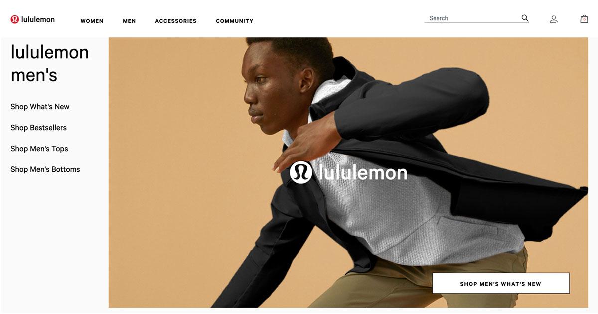 Lululemon homepage