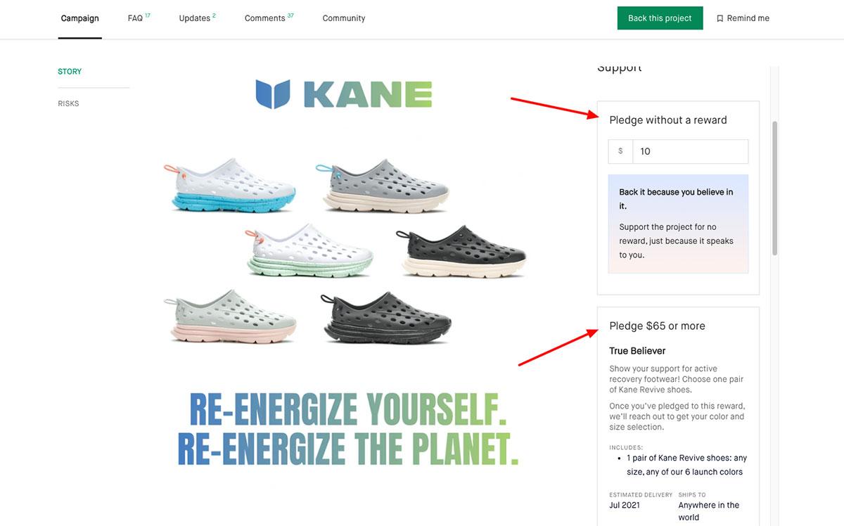 rewards based crowdfunding pledges kane shoes