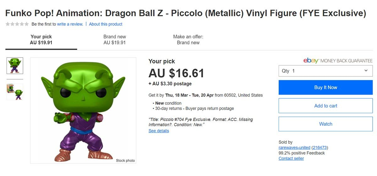 ebay top selling funko pop dragon ball z
