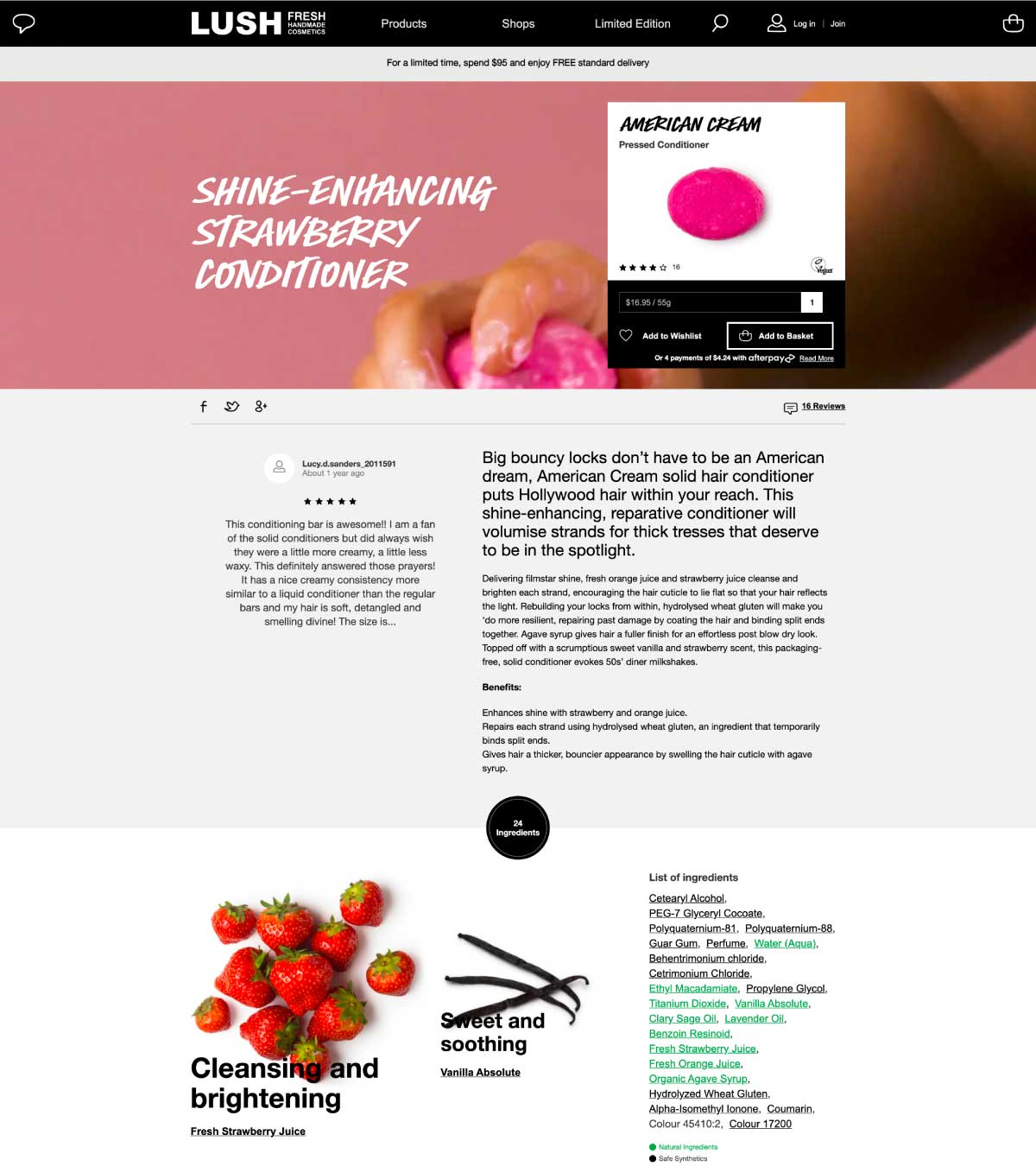 lush product page ingredient details