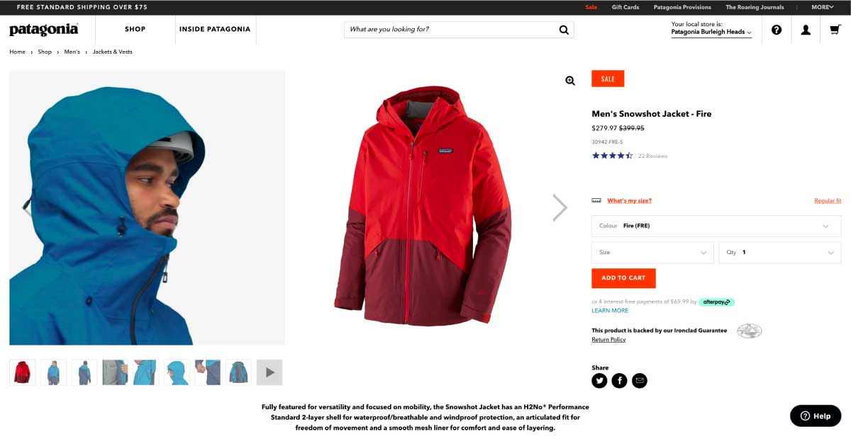 patagonia product page multiple angles images