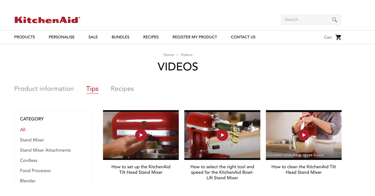 kitchenaid content marketing how to videos