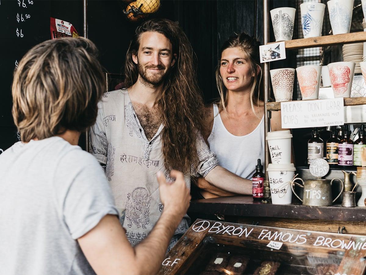Life Cykel mushroom coffee area.
