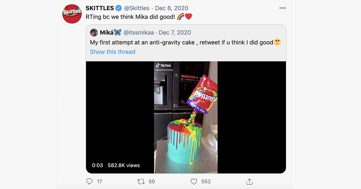 skittles user generated content twitter