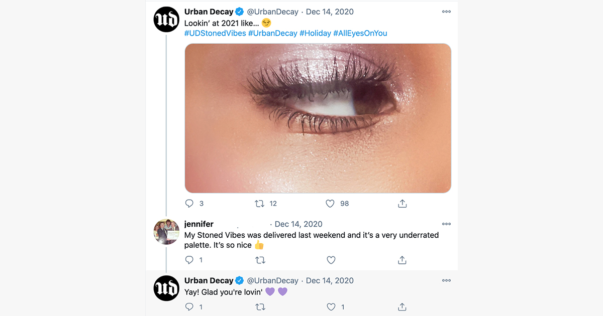 urban decay twitter user interaction